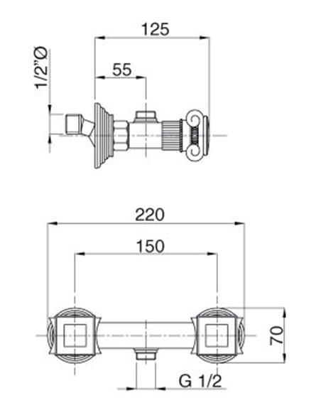 Cezares dušas jaucējkrāns Olimp DS 03/24 O - 2