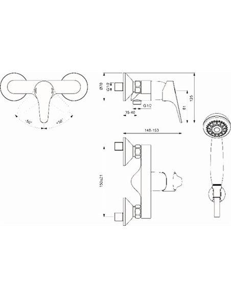 Vidima dušas jaucējkrāns Некст BA370AA - 2