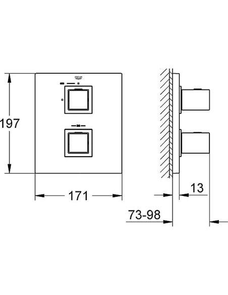 Grohe termostata jaucējkrāns dušai Grohtherm Cube 19959000 - 8