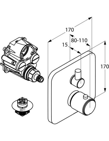Kludi termostata jaucējkrāns dušai E2 498350575 - 2