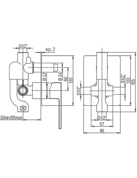 Paini dušas jaucējkrāns Dax 84CR6911R - 2