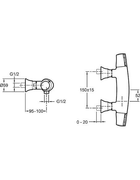 Jacob Delafon termostata jaucējkrāns dušai Symbol E71683-CP - 3