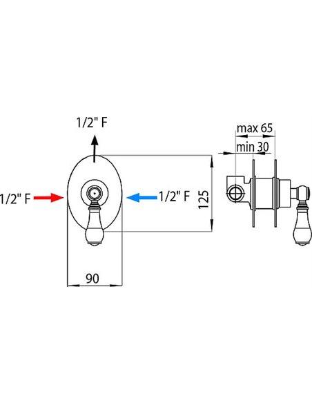 Bossini dušas jaucējkrāns Retro Z002201 BR - 3