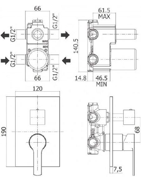 Cezares dušas jaucējkrāns Fuoco DEV3-01 - 2