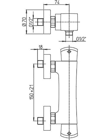 Paini termostata jaucējkrāns dušai Lady 89PW511TH - 2