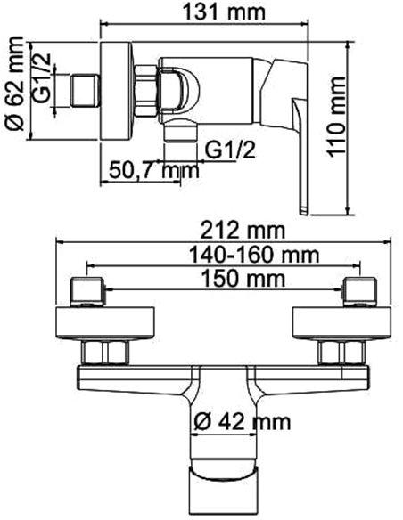 Wasserkraft dušas jaucējkrāns Dill 6102 - 3