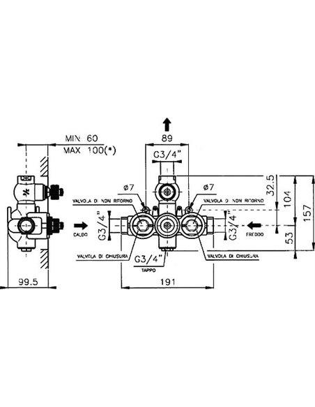 Nicolazzi termostata jaucējkrāns dušai Thermostatico 4909 BZ 78 - 4