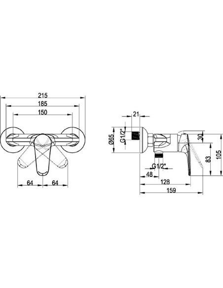Villeroy & Boch dušas jaucējkrāns O.novo start TVS10530111061 - 2