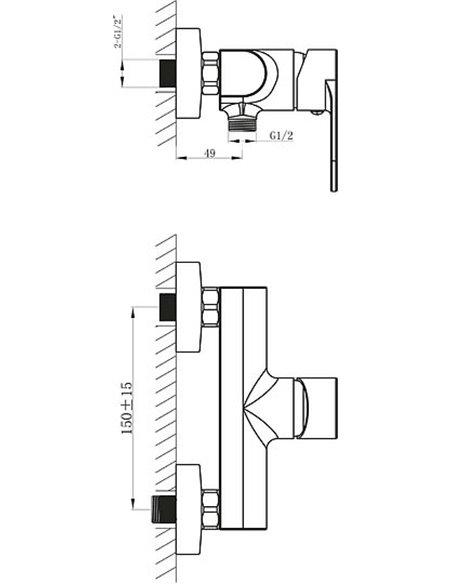 BelBagno dušas jaucējkrāns Loyd LOY ESDM CRM - 2