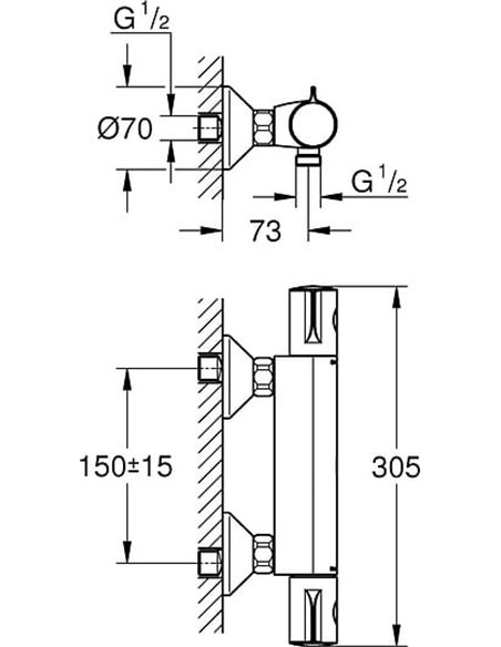 Grohe termostata jaucējkrāns dušai Grohtherm 800 34558000 - 4