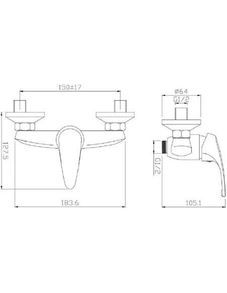 Aquanet dušas jaucējkrāns Practic AF100-30С - 2