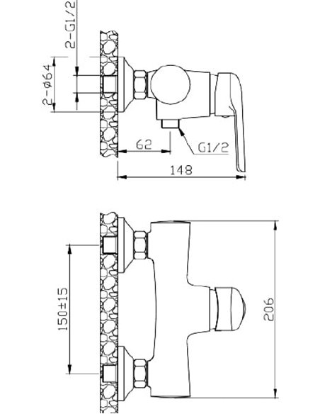 1 Orange dušas jaucējkrāns Tony M54-200Ni - 2